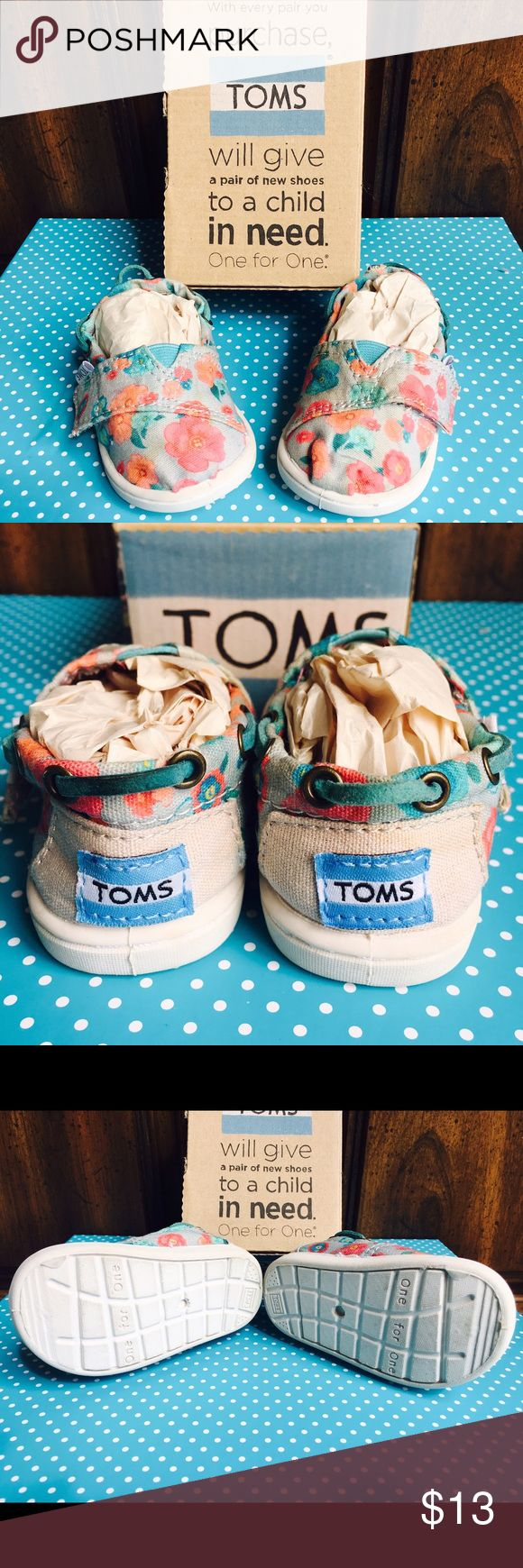 "Kids ""TOMS"" shoes Size 4t turquoise and coral floral print on a light gray base TOMS Shoes"