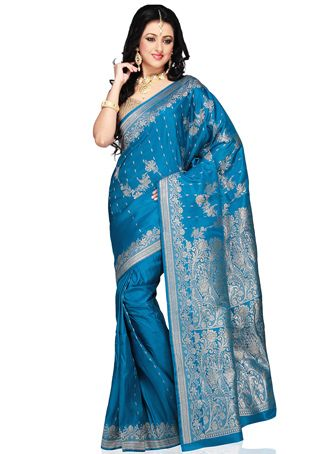 Dark aqua  http://www.utsavfashion.com/saree/dark-aqua-blue-pure-silk-satin-banarasi-saree-with-blouse/snea84-itemcode