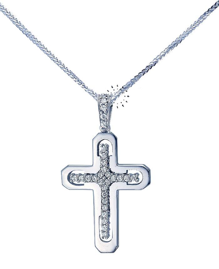 Σταυρός 14K Λευκόχρυσο με Ζιρκόν της FaCaDoro  425€  http://www.kosmima.gr/product_info.php?products_id=12073