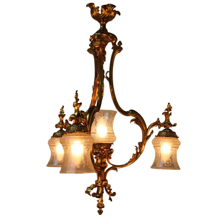 French 1930s Bronze And Etched Glass Chandelier 1stdibs