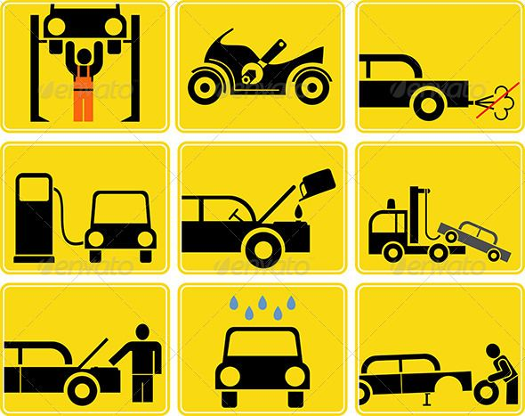 Auto Service by danjazzia Car and Motorcycle service �20set of isolated vector icons. Yellow and black signs. Gas station, tire and motor oil change, car was