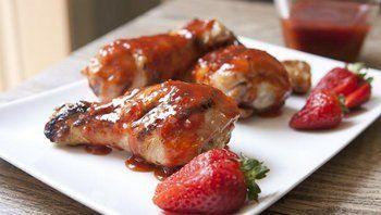Жареный Цыпленок с пикантным Клубничный соус барбекю