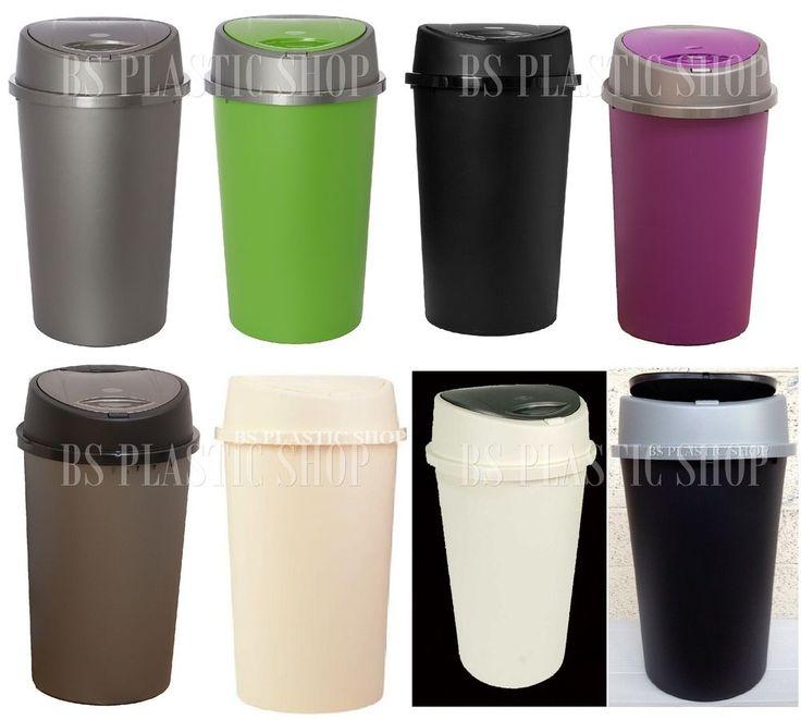 45L Litre Plastic Touch Top Bin Rubbish Bin Dust/Waste Bin Home Kitchen Office