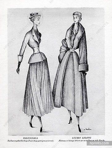 A. Barlier 1948 p2 Balenciaga, Lucien Lelong, Back: Jeanne Lafaurie, Jacques Griffe, Molyneux