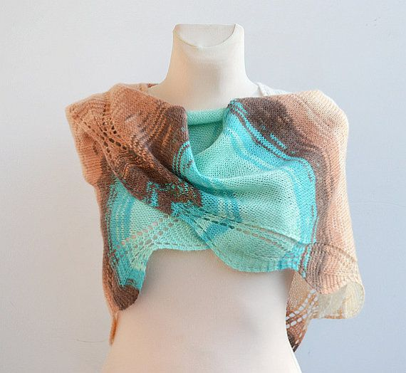 Mohair multicolor Hand knitted shawl wedding bridal by DosiakStyle