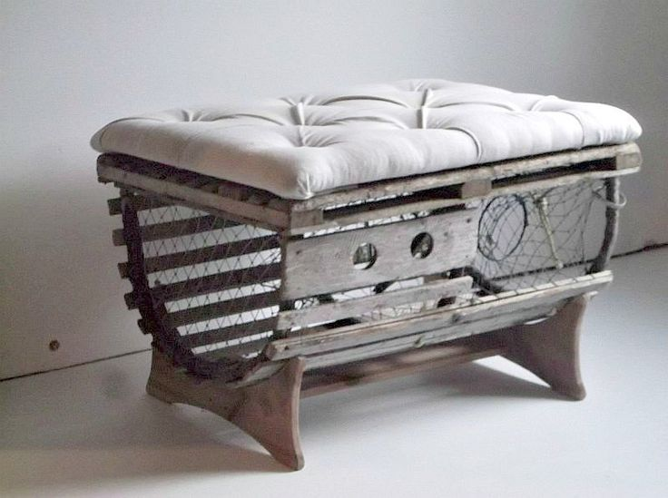 Rustic Tufted Coffee Table Ottoman made from Reclaimed Vintage Lobster Trap