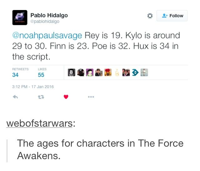 This can't be right because J. J. said that Kylo was in his late teens. And this would also mean that Leia was pregnant during Return of the Jedi.