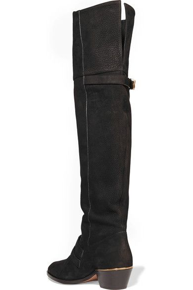 Chloé - Susanna Textured-leather Over-the-knee Boots - Black - IT38.5