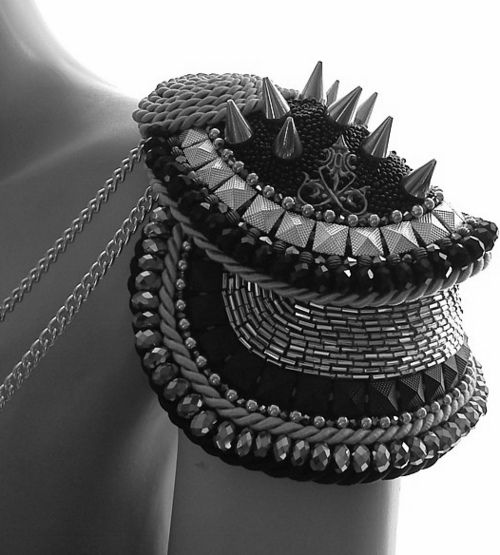 Make a fancy shoulder, (or 2). Turn that jacket into something special. Beads, cord, spikes, trim, buttons, chains, jewelry. Burning Man