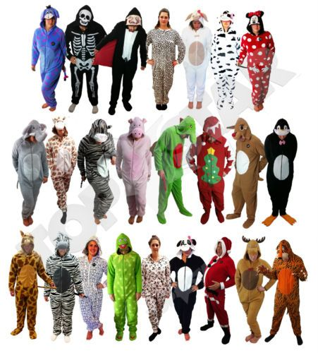 20bee11ccd1b Adult Mens Womens Onesie Pyjama Fancy Dress Festival Animal Kermit Halloween  NEW