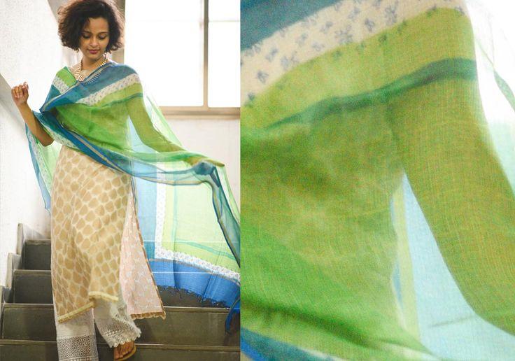 Silk Dupattas - Kota silk blue green by Suta PC 15025 - 2