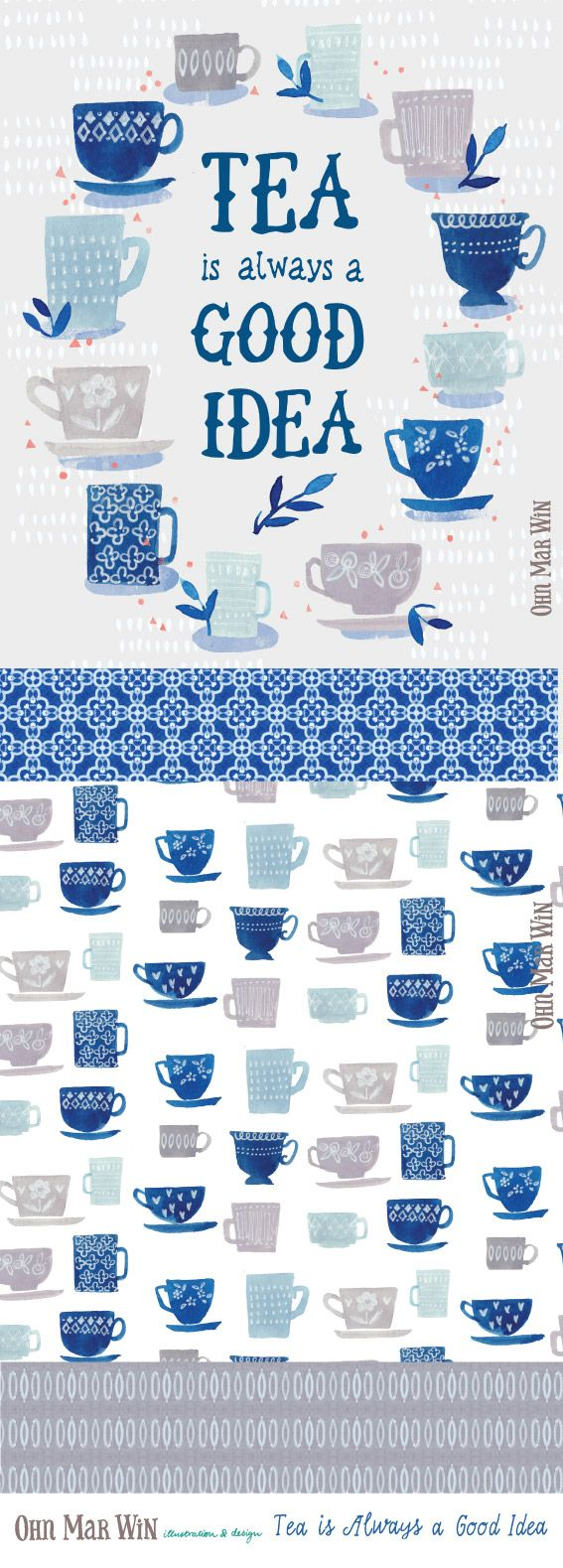 FOOD & DRINK — Ohn Mar Win Illustration Tea vintage tea cups surface pattern
