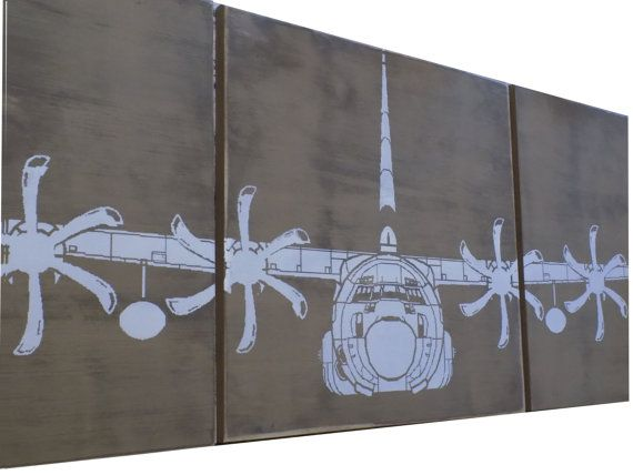 "USMC KC-130 J Hercules Military Aviation Art 16""X 48"" Vintage WW2 Plane AIRPLANE Extra large Wall Art / Wood Painting / Gift for Him / Her"