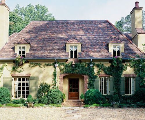 Colors of provence yellow stucco with patina green - French country exterior house colors ...