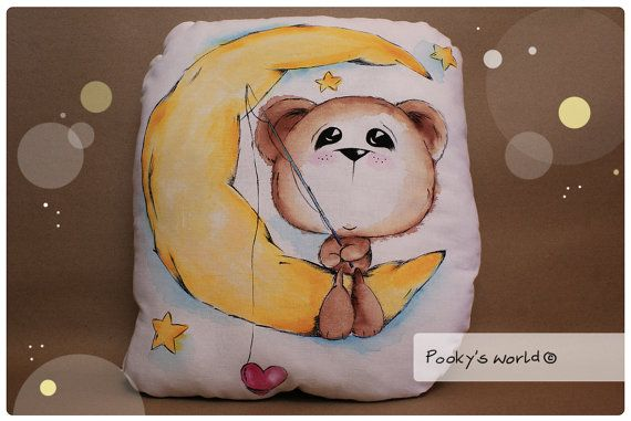 Hand painted  pillow/toy   bear and the moon by Pookysworld, $18.00