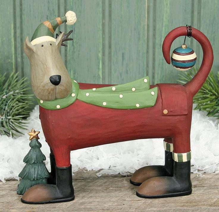Dog In Pajamas With Christmas Tree Figurine – Christmas Folk Art & Holiday Collectibles – Williraye Studio $26.00