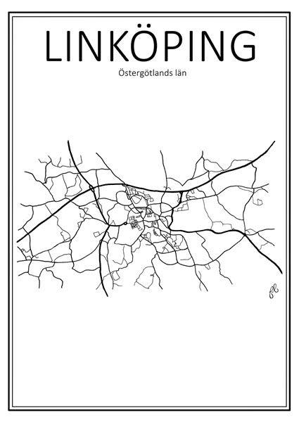 Poster - Stadskarta Linköping 50x70 cm