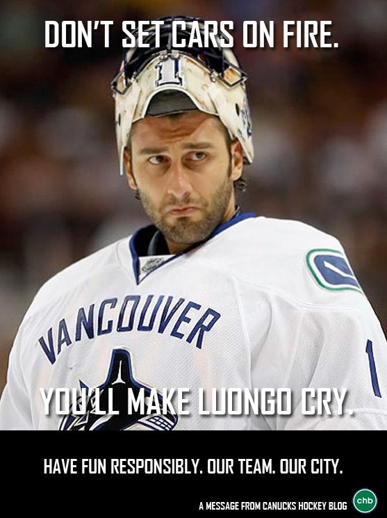 1st Poster in #CHB's Celebrate Responsibly series - Roberto Luongo - #Canucks #NHL