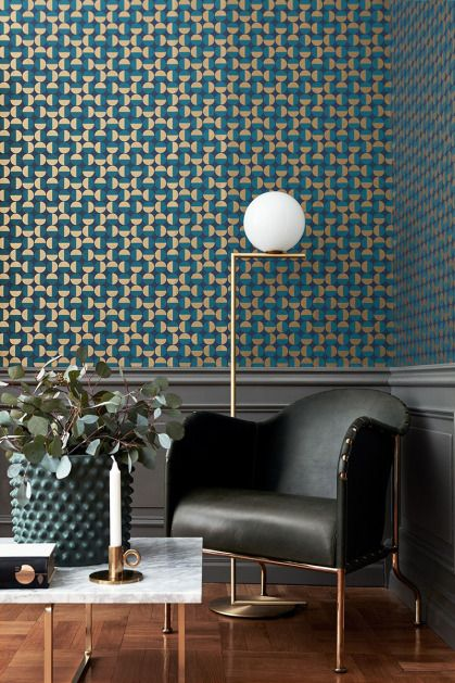 Scandinavian Designers II wallpaper book.  Vertigo is based on the movements of semicircles and was first designed as a furniture fabric. Designer:  Arne Jacobsen