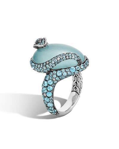 John Hardy Legends Cobra Aquamarine & Diamond Ring with Diamonds, Size 7