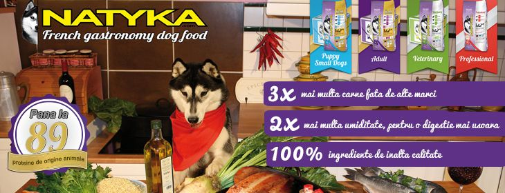 Hrana uscata super-premium de la #Natika - French gastronomy dog food. Pana la 89 de proteine de origine animala!