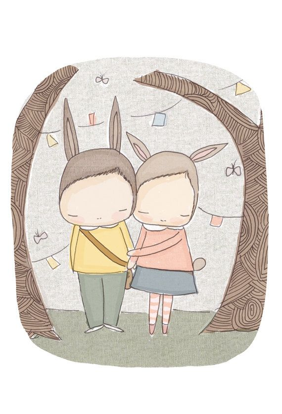 Digital Print - Childrens Housewares Room Decor - Bunny Rabbits in The Wood- Henry and Harriet Best of Friends. $16.00, via Etsy.