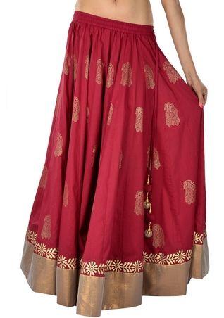 Cotton Hand Block Printed 32-Kalis Border Skirt