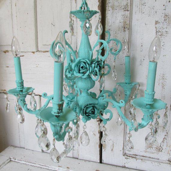 Large chandelier hand painted aqua sea foam ornate large metal cottage roses vintage crystals home decor ceiling fixture anita spero