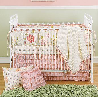 Create a Secret Garden of her very own with our Rose Garden Crib Bedding! So sweet and beautiful, you'll want to escape there as well. Matched beautifully with our Marie cast iron crib and Young America by Stanley Furniture Changing Table, it's the perfect setting for your little one to bloom and grow!