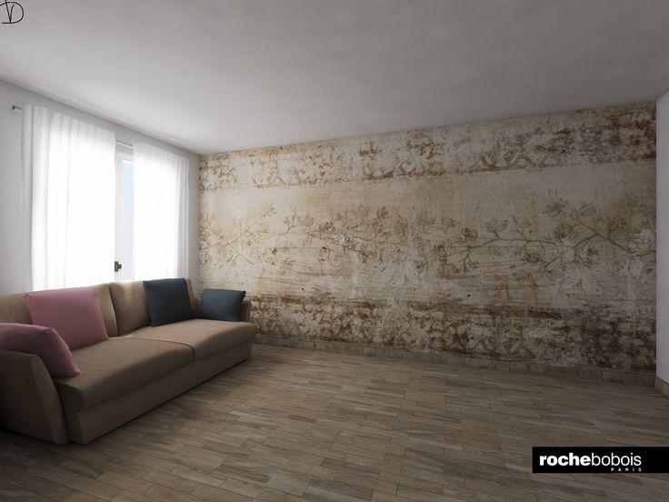 #Simulazione #carta da parati #Borgia con #divano #Agiorno by #Rochebobois