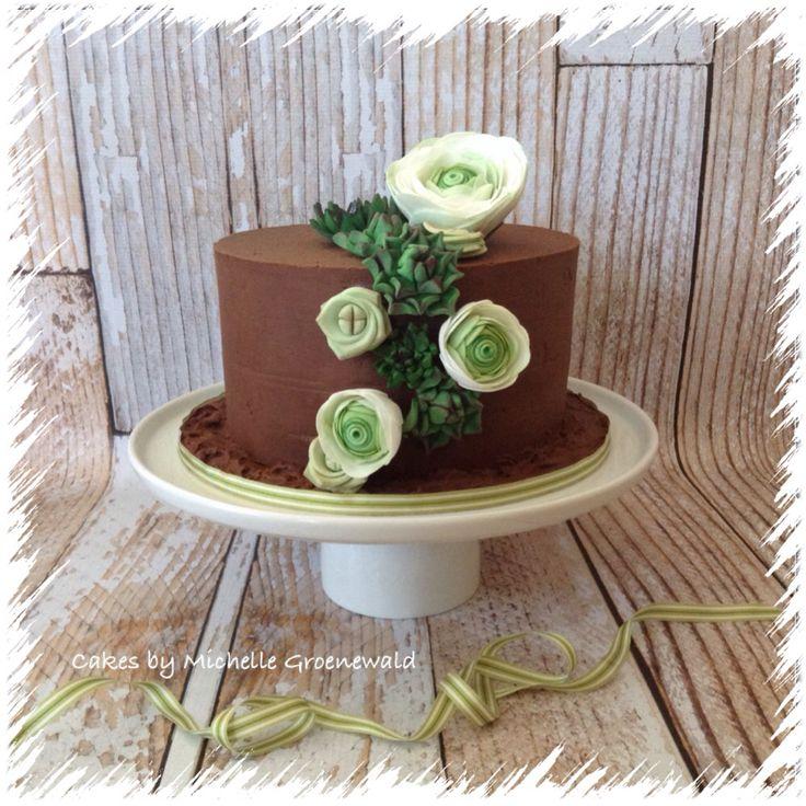 Succulent and ranunculus cake