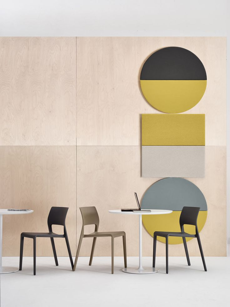 Arper's Parentesit acoustic wall panels come in graphic shapes, which can be customized to now include a Bluetooth speaker or ambient LED light.