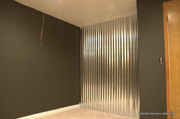 How To Install A Corrugated Metal Accent Wall - industrial basement design