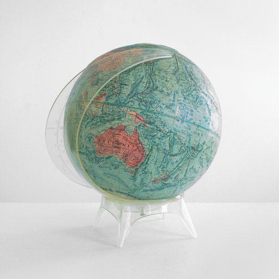 readers digest globe vintage world globe midcentury world