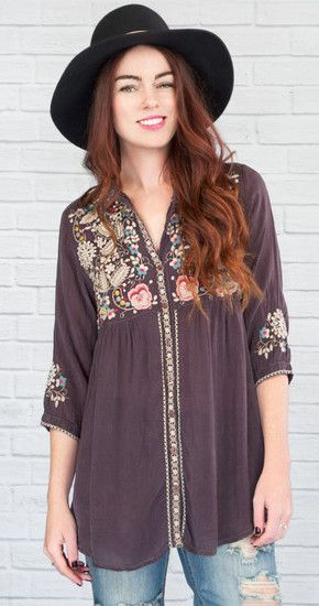 Johnny Was | Brittnee Tunic in Raisin @ www.shopblueeyedgirl.com