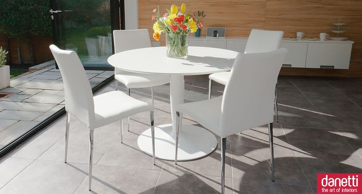 a stunning 4 seater matt white round dining set if you are looking for a subtle alternative to white high gloss then this contemporary and elegant - Round White Gloss Dining Table