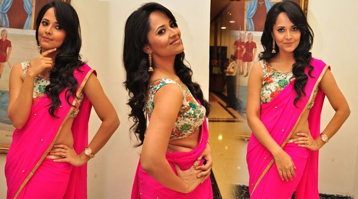 Anasuya HOT HD Photos in Pink color Saree sleev less..