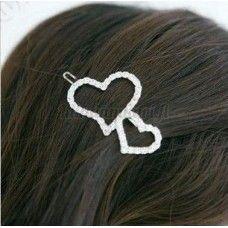 Kaunis strassikoristeinen sydän hiuspinni