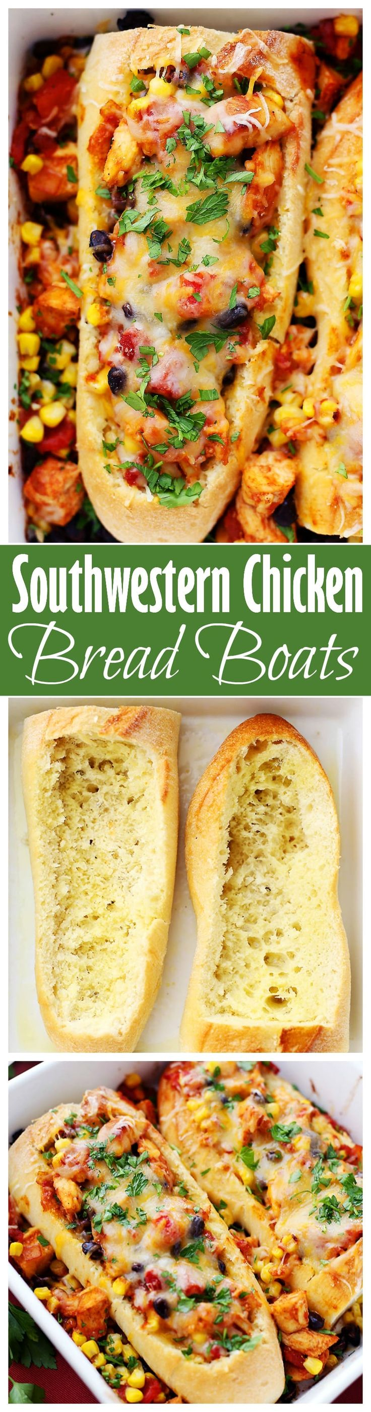 Southwestern Chicken Bread Boats - Stuffed french bread with a hearty, warm and delicious chicken-mixture with tomatoes, black beans, and corn.