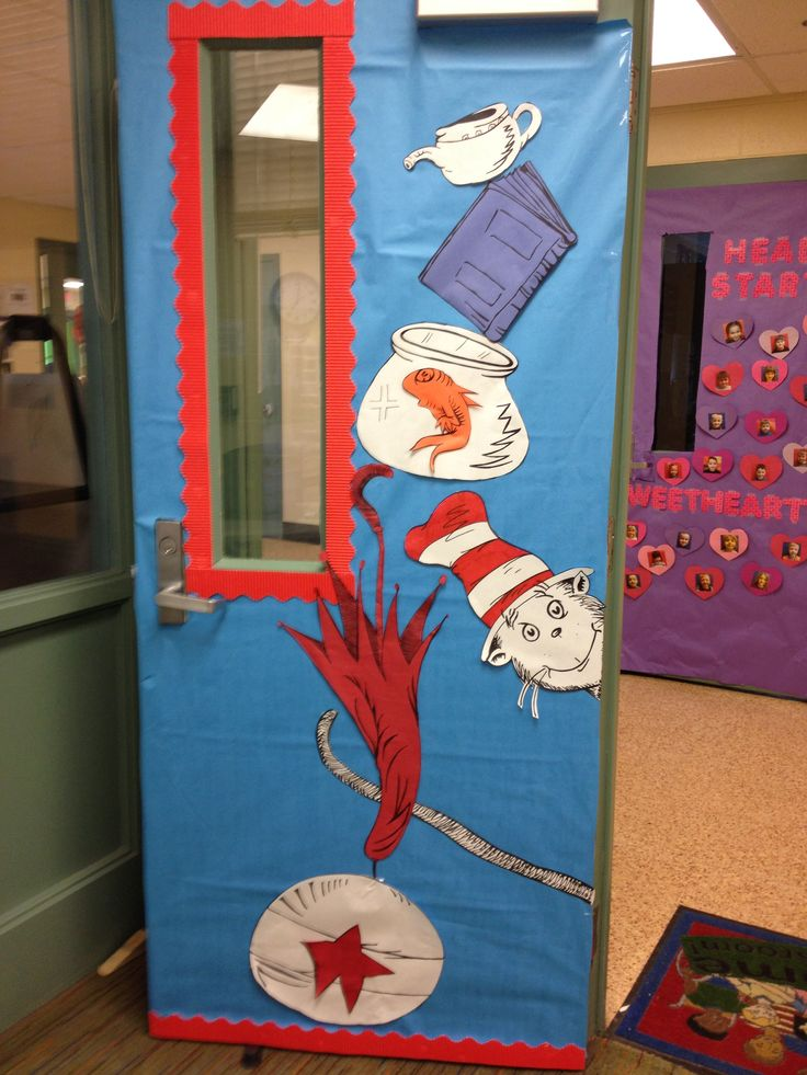 Dr suess cat in the hat door my 0 3 39 s pinterest for Art classroom decoration ideas