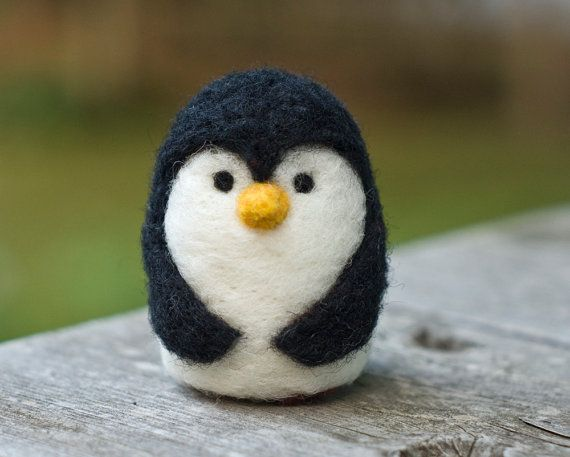 Needle Felted Penguin by scratchcraft on Etsy, $18.00