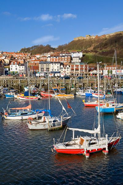 Scarborough, North Yorkshire, England Looking back towards the town from the…