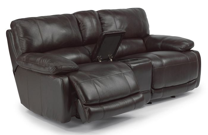 Flexsteel Hermosa Leather Reclining Loveseat with Console