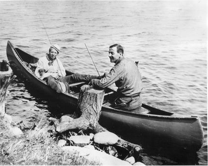 Arthur Lismer and Tom Thompson in canoe, Canoe Lake, Algonquin Park, May 1914