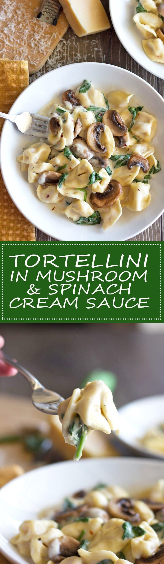 Tortellini Pasta in Mushroom Spinach Cream Sauce. Quick, easy and delicious! Ready in under 30 minutes!