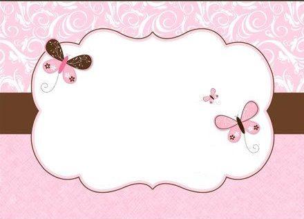 convite borboleta rosa e marrom