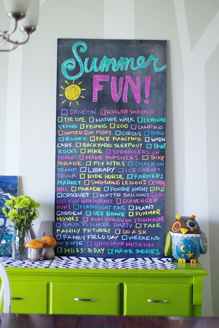 Summer to do list on chalkboard