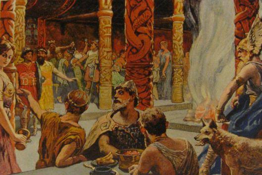 Σύμφωνα με την Σκανδιναβική μυθολογία…… Valhalla (Βαλχάλλα =αίθουσα των νεκρών) ήταν ο χώρος όπου ο θεός Odin στέγαζε τους νεκρούς που θεωρούσε άξιους να κατοικούν μαζί του.