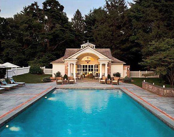 have an awesome pool and pool house like this!: House Inspiration, Clapboard Poolhous, House Ideas, Swim Pools, Pools Dreams, Pools House, Guest House, Beautiful Pools, Pools Ideas