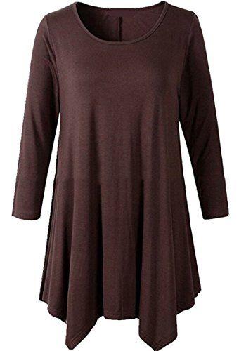 c7a8239628cf2 SYTX-women clothes SYTX Women Stylish Long Sleeve Irregular Pleated  Crewneck Blouse Shirt Tops
